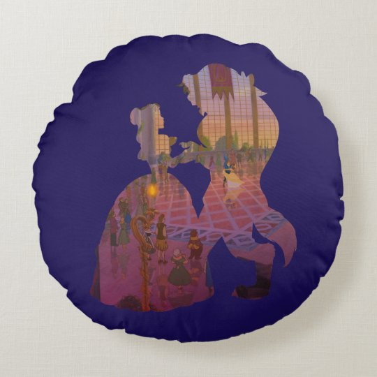 Beauty & The Beast | Silouette Dancing Round Pillow
