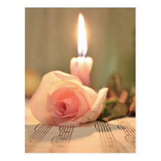 Beauty treatment-pink rose and candle postcard