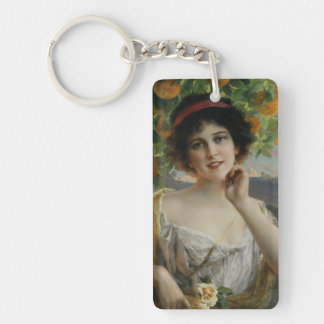 Beauty Under the Orange Tree by Emile Vernon Rectangle Acrylic Key Chain