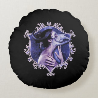 Beauty within - goth macabre round throw pillow