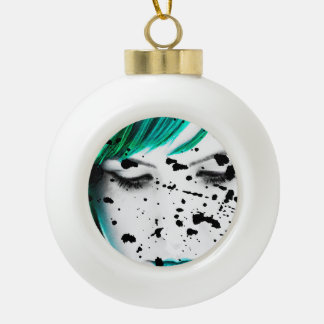 Beauty Woman Close Up Artistic Portrait Ceramic Ball Christmas Ornament