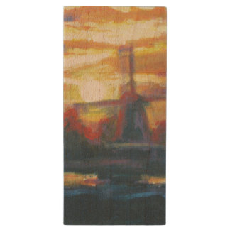 Beaux-arts de moulin à vent de lever de soleil de clé USB 2.0 en bois