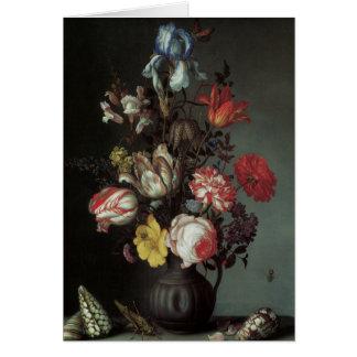 Beaux-arts floraux avec des iris de tulipes de ros cartes de vœux