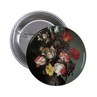 Beaux-arts floraux avec des iris de tulipes de ros macaron rond 5 cm