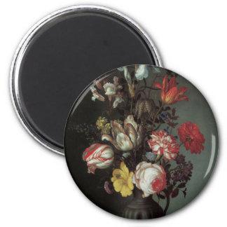 Beaux-arts floraux avec des iris de tulipes de ros magnet rond 8 cm