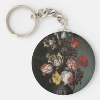 Beaux-arts floraux avec des iris de tulipes de ros porte-clé rond