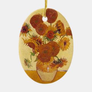 Beaux-arts vintages des tournesols de Van Gogh Ornement Ovale En Céramique