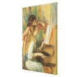 Beaux-arts vintages, jeunes filles au piano par toiles tendues