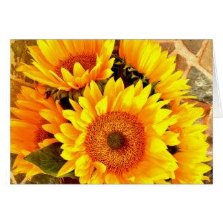 Beaux cadeaux de bouquet de tournesol carte de vœux