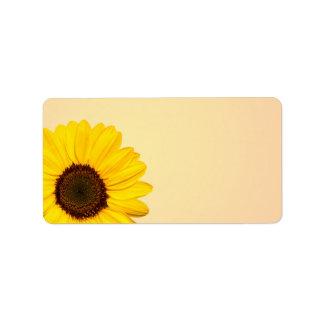 Beaux étiquettes jaunes de blanc de tournesol étiquettes d'adresse