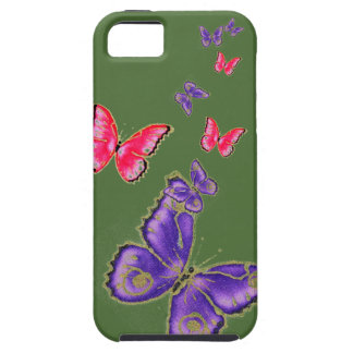 Beaux grands butterflys pourpres et rouges coque iPhone 5