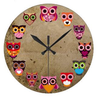 Beaux hiboux rustiques grande horloge ronde
