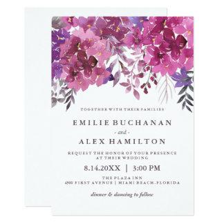 Beaux hortensias pour aquarelle et Botanicals Carton D'invitation 12,7 Cm X 17,78 Cm