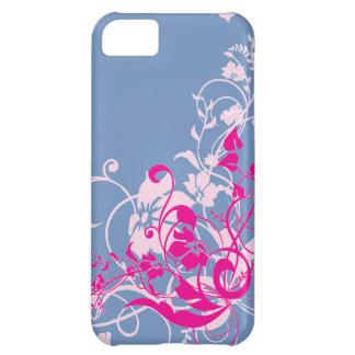 Beaux remous floraux roses sur les cadeaux bleus coque iPhone 5C