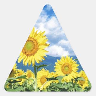 Beaux tournesols sticker triangulaire