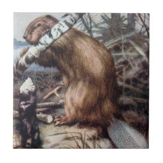 Beaver And Tree Illustration Tile