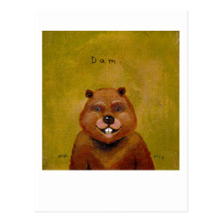 Beaver art original painting slightly deranged fun postcard