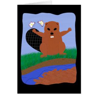 Beaver Building Dam Cartoon Art Card