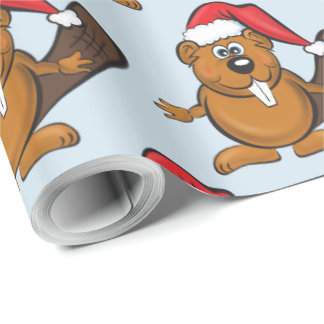 Beaver christmas wrapping paper
