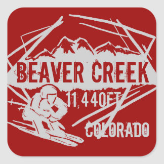 Beaver Creek red splash ski elevation stickers