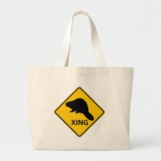 Beaver Crossing Highway Sign Large Tote Bag