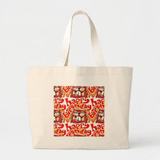 beaver happy birthday cartoon style illustration large tote bag