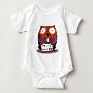 beaver holds happy birthday message cartoon baby bodysuit