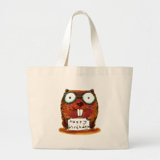 beaver holds happy birthday message cartoon large tote bag