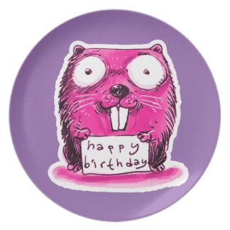 beaver holds happy birthday message cartoon party plates