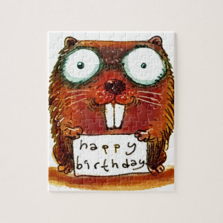 beaver holds happy birthday message cartoon puzzle