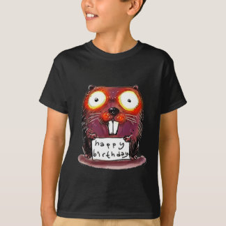beaver holds happy birthday message cartoon T-Shirt