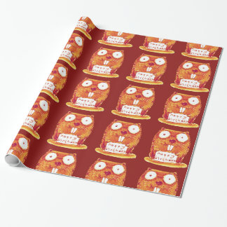 beaver holds happy birthday message cartoon wrapping paper