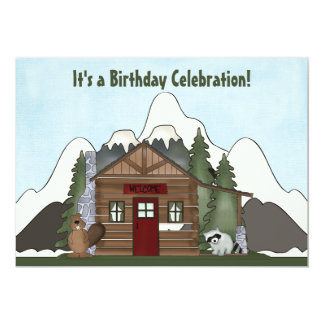 Beaver, Raccoon and Mountain Cabin Birthday Invite