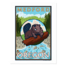 Beaver & River - Medford, Oregon Postcard