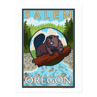 Beaver & River - Salem, Oregon Postcard