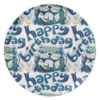 beaver say happy birthday party plate