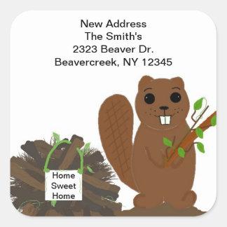 Beaver with Dam New Address Stickers