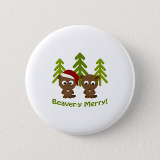Beaver-y Merry! Christmas Beavers 2 Inch Round Button