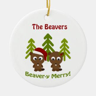 Beaver-y Merry! Christmas Beavers Round Ceramic Ornament