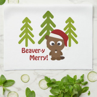Beaver-y Merry! Cute Christmas Beaver Hand Towel