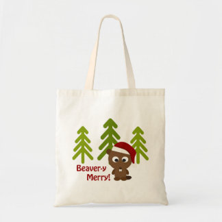 Beaver-y Merry! Cute Christmas Beaver Tote Bag