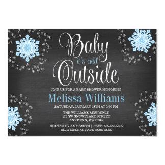 Bébé c'est baby shower bleu de flocons de neige carton d'invitation  11,43 cm x 15,87 cm