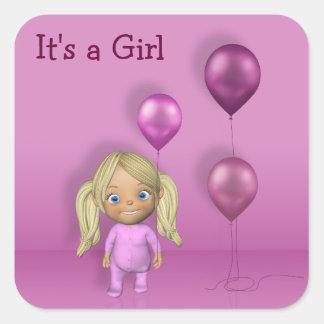 Bébé et ballons roses - c'est un autocollant de
