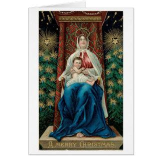 Bébé Jésus et Mary sur Noël Cartes