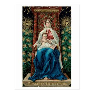 Bébé Jésus et Mary sur Noël Carte Postale