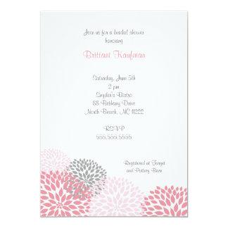 Bébé rose et gris de dahlia ou invitation nuptiale carton d'invitation  12,7 cm x 17,78 cm