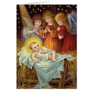 Bébé vintage Jésus de Noël Carte De Vœux