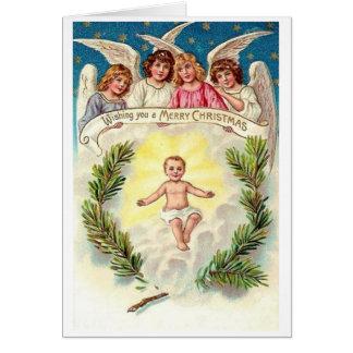 Bébé vintage Jésus et carte de Noël d'anges