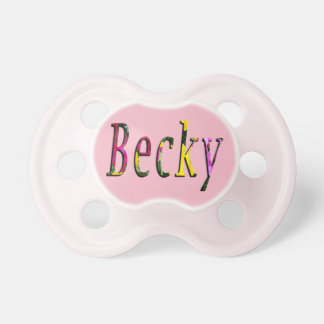 Becky, Name, Logo, Baby Girls Pink Dummy Baby Pacifier