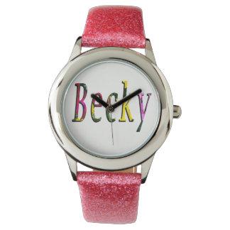 Becky, Name, Logo, Girls Pink  Glitter Watch